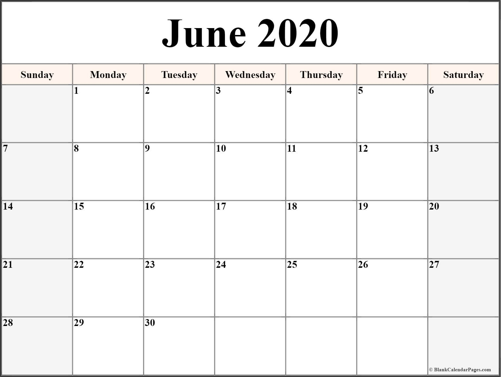 Online Printable Calendar 2020 June 2020 Calendar