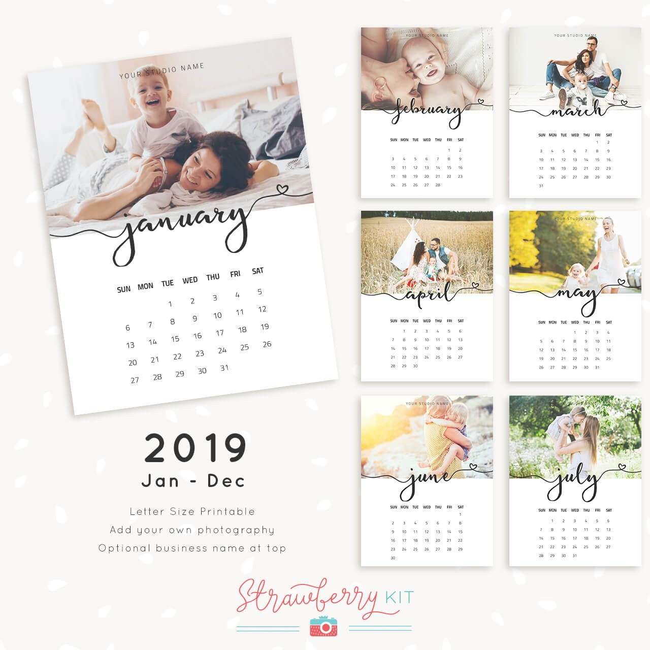 2019 photo calendar template Strawberry Kit
