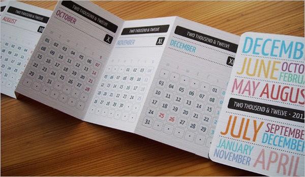 Pocket Calendar Template