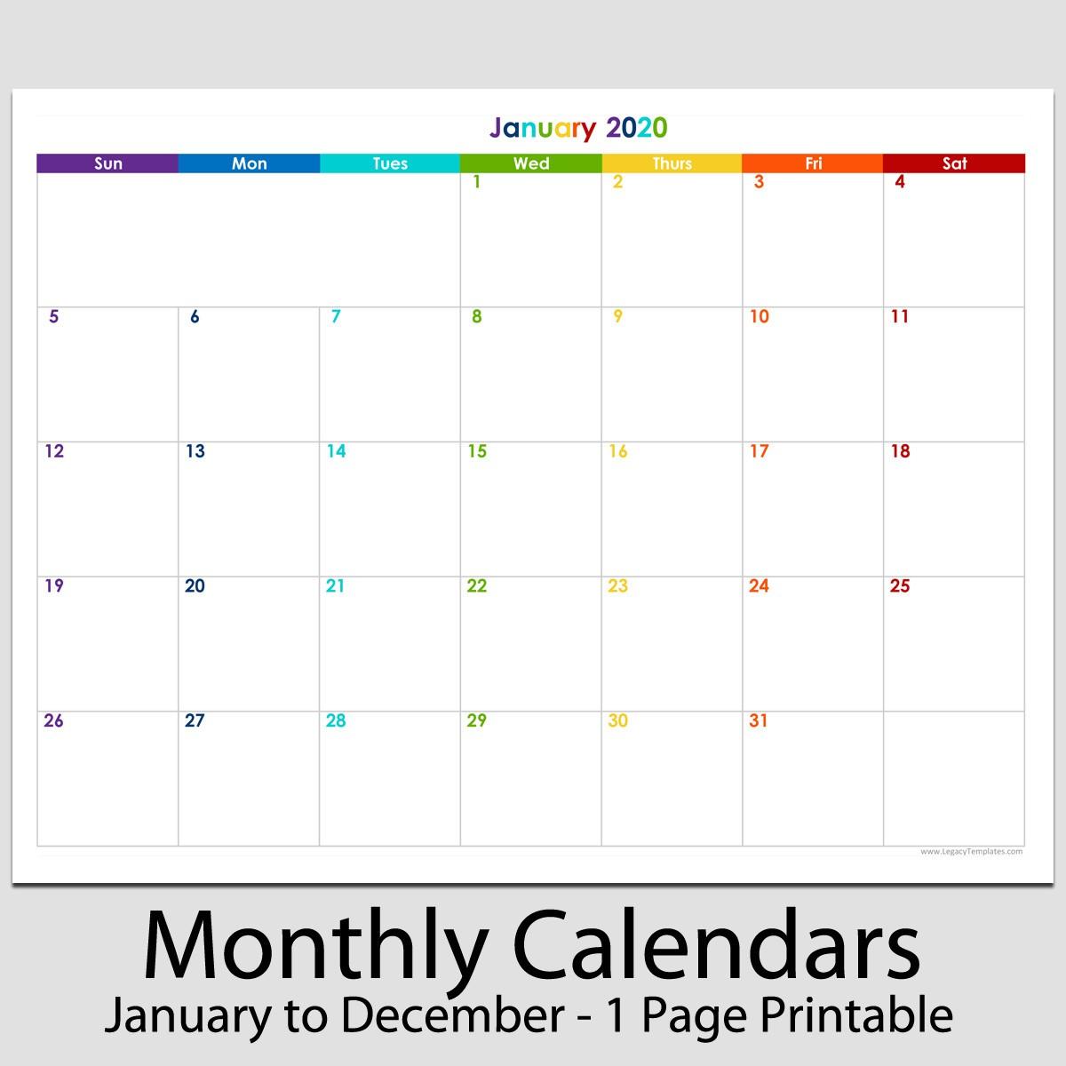 Printable 12 Month Calendar 2020