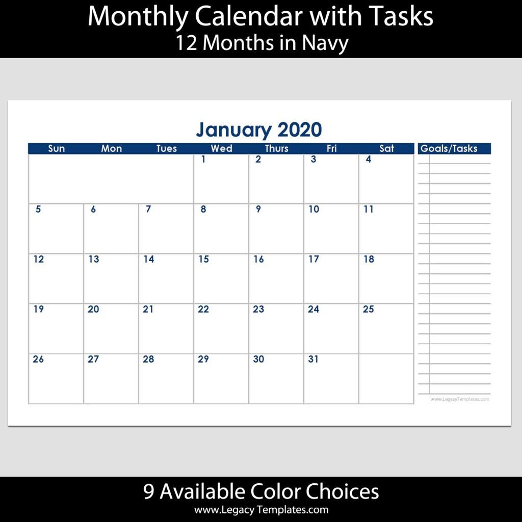 2020 12 Month Landscape Calendar with Tasks – 5 5 x 8 5