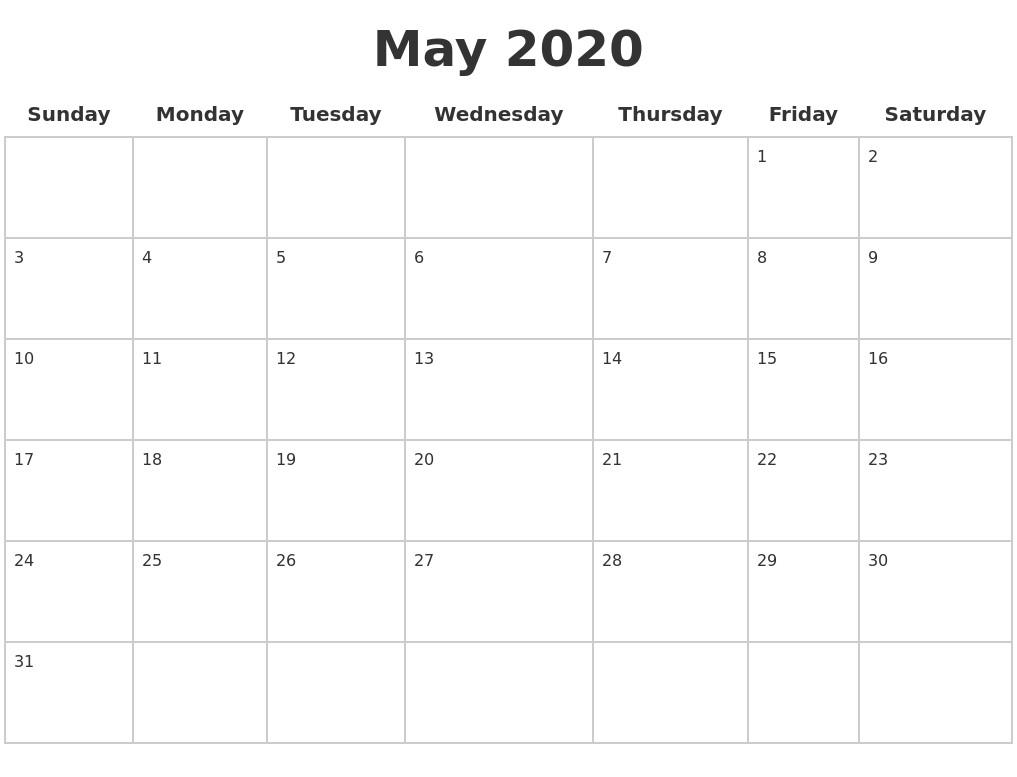 Printable 2020 Calendar Pages
