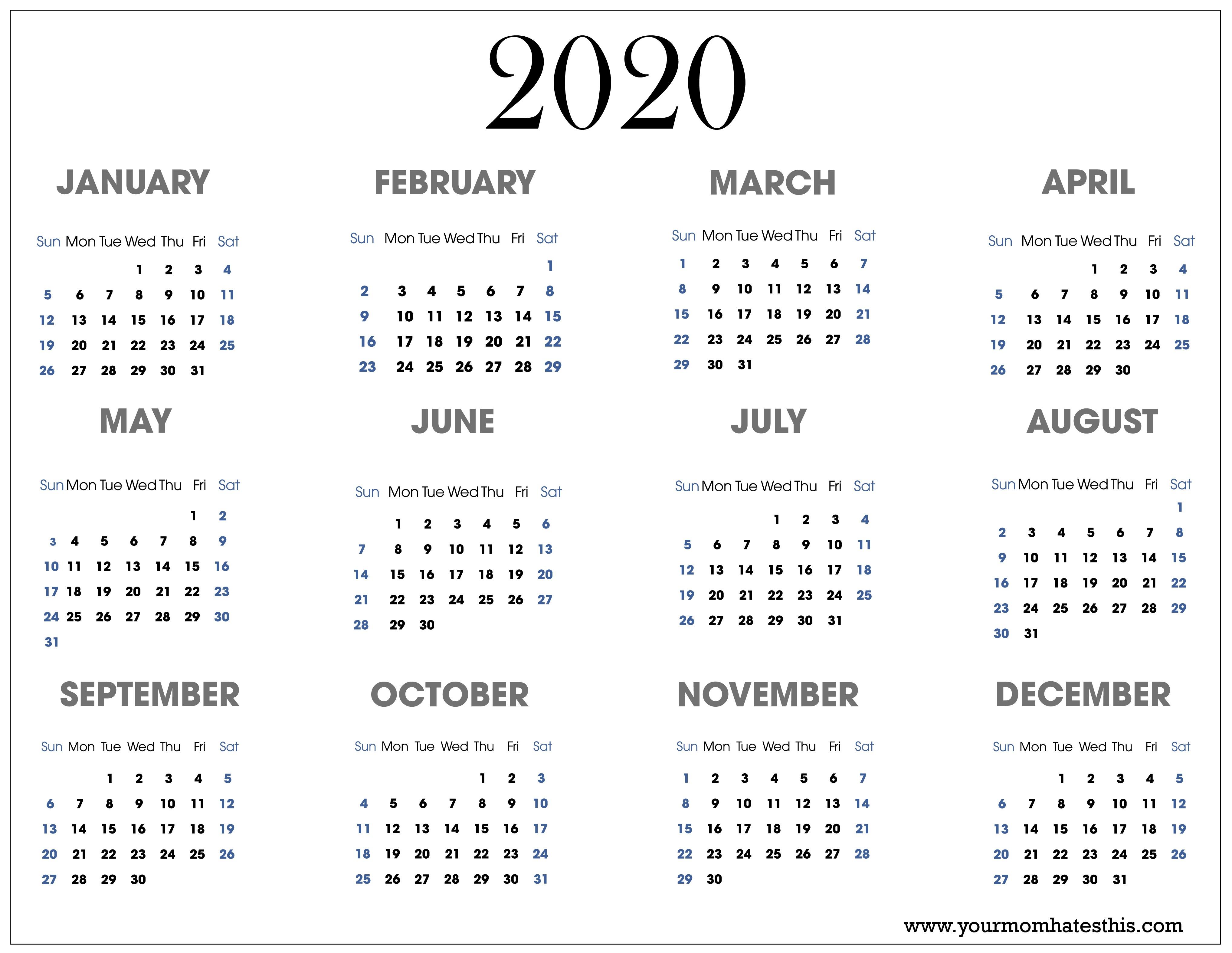 2020 Calendars in PDF Download Templates of Calendar 2020
