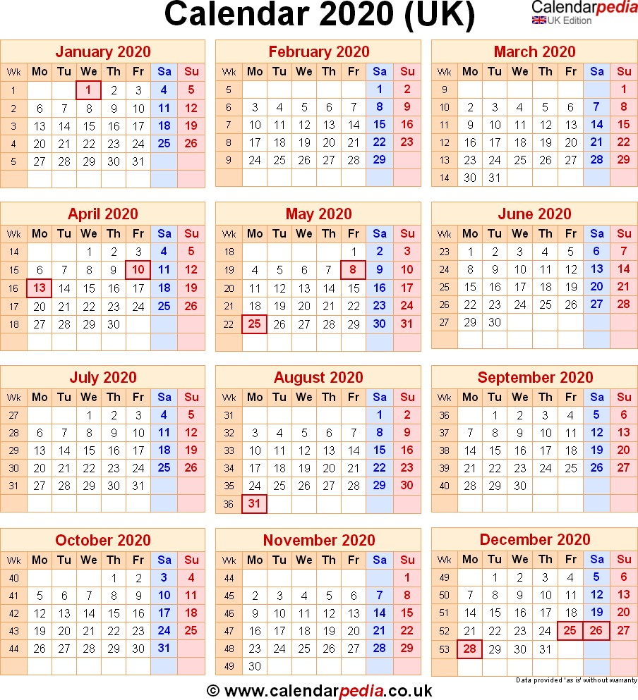 Calendar 2020 UK with bank holidays & Excel PDF Word templates