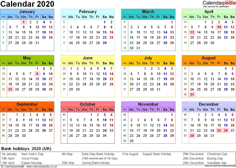Printable 2020 Calendar Uk