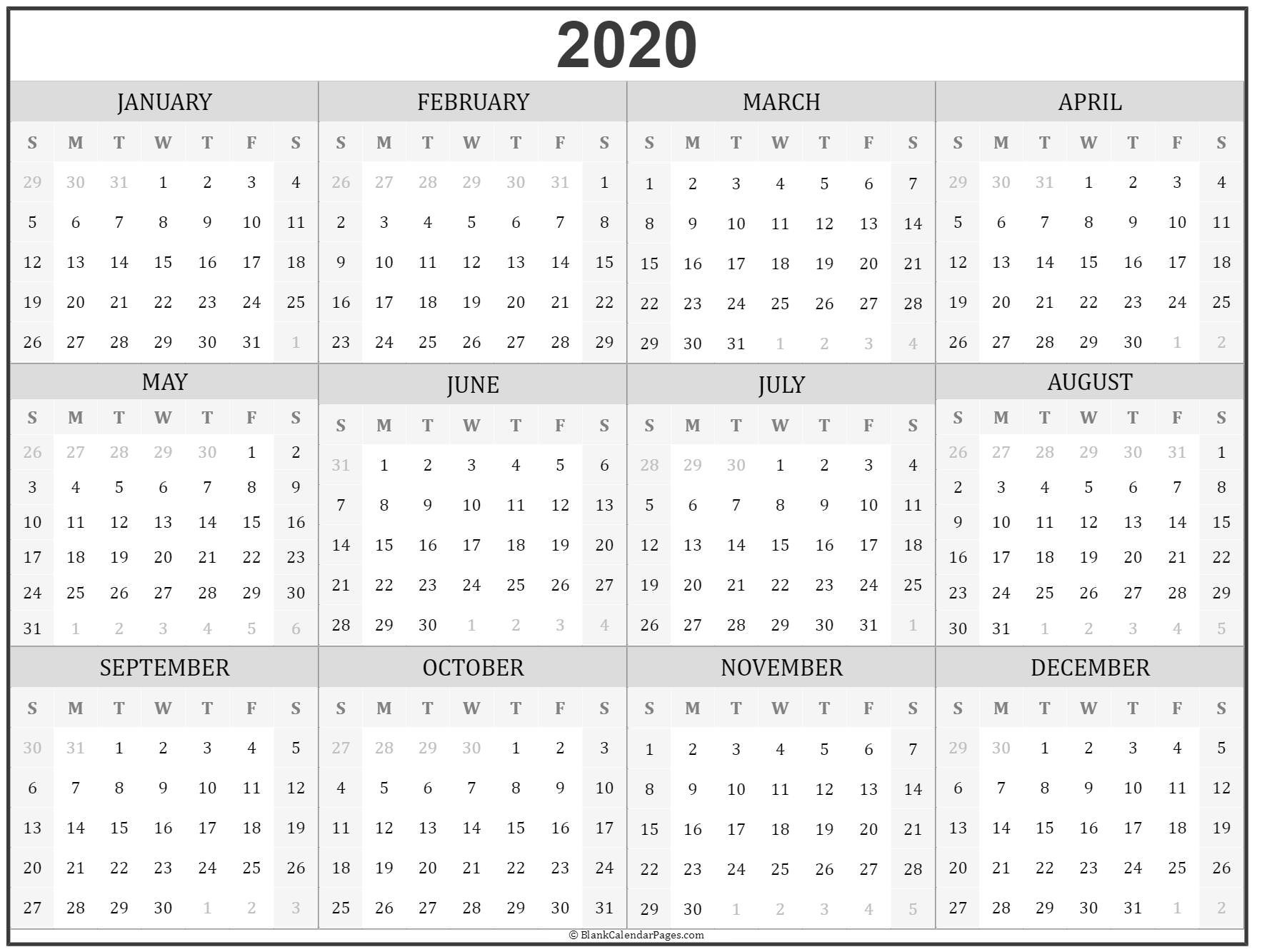 Printable 2020 Calendar Yearly