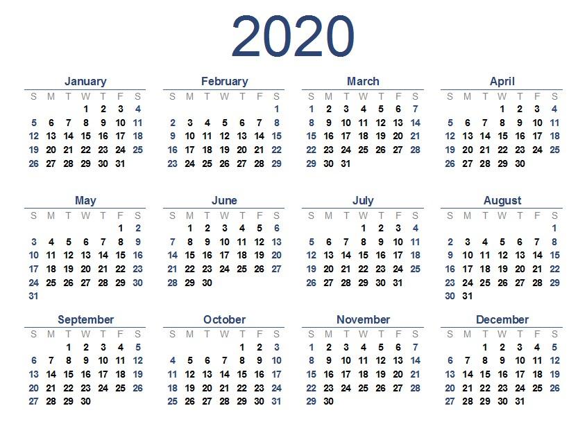 Printable 2020 Yearly Calendar 2020 E Page Calendar Printable