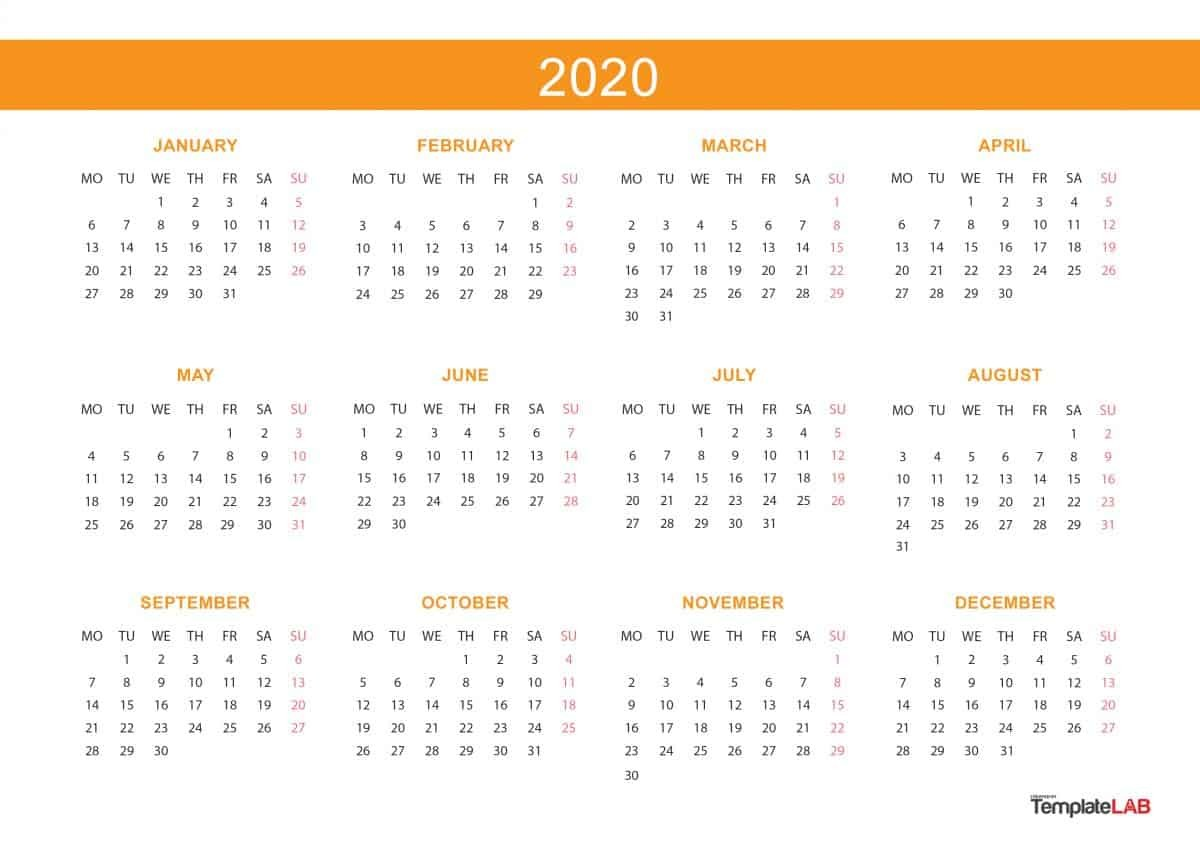 Printable 2020 Yearly Calendar 2020 Printable Calendars [monthly with Holidays Yearly