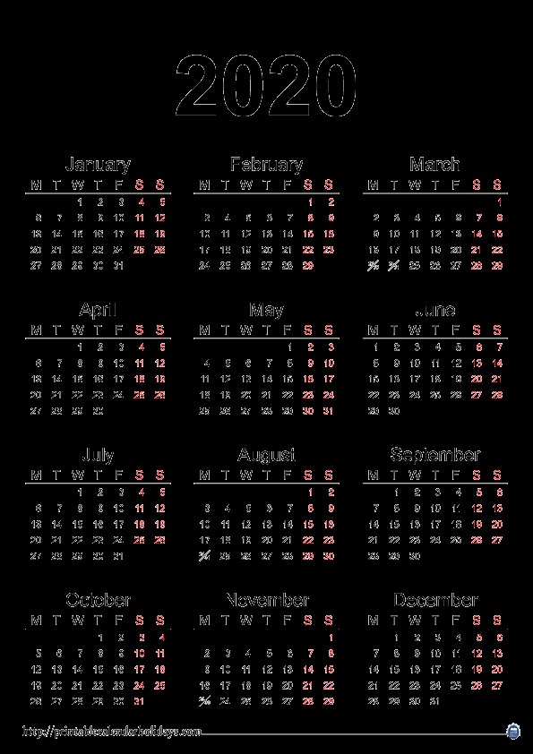 Printable 2020 Yearly Calendar 2020 Yearly Calendar Printable Printable Calendar