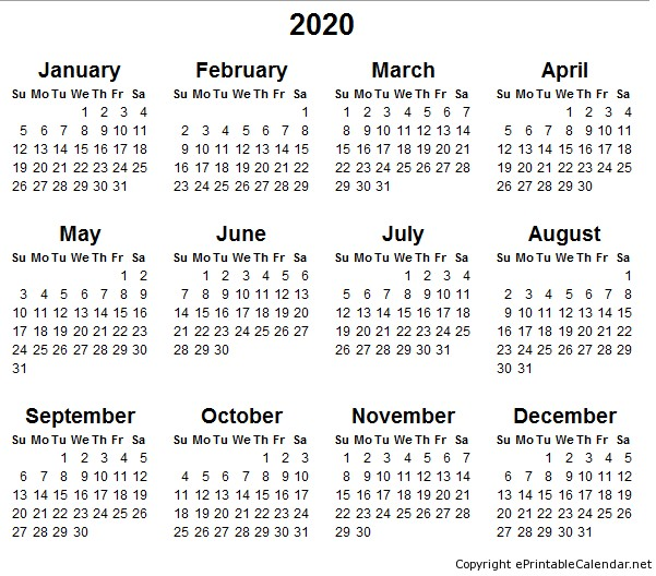 Printable 2020 Yearly Calendar 5 Best Of 2020 Yearly Calendar Free Printable
