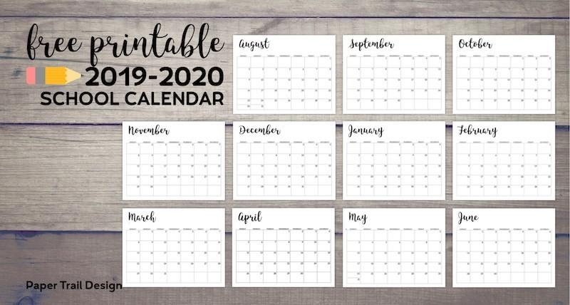 Printable Academic Calendar 2020 2019 2020 Printable School Calendar Paper Trail Design