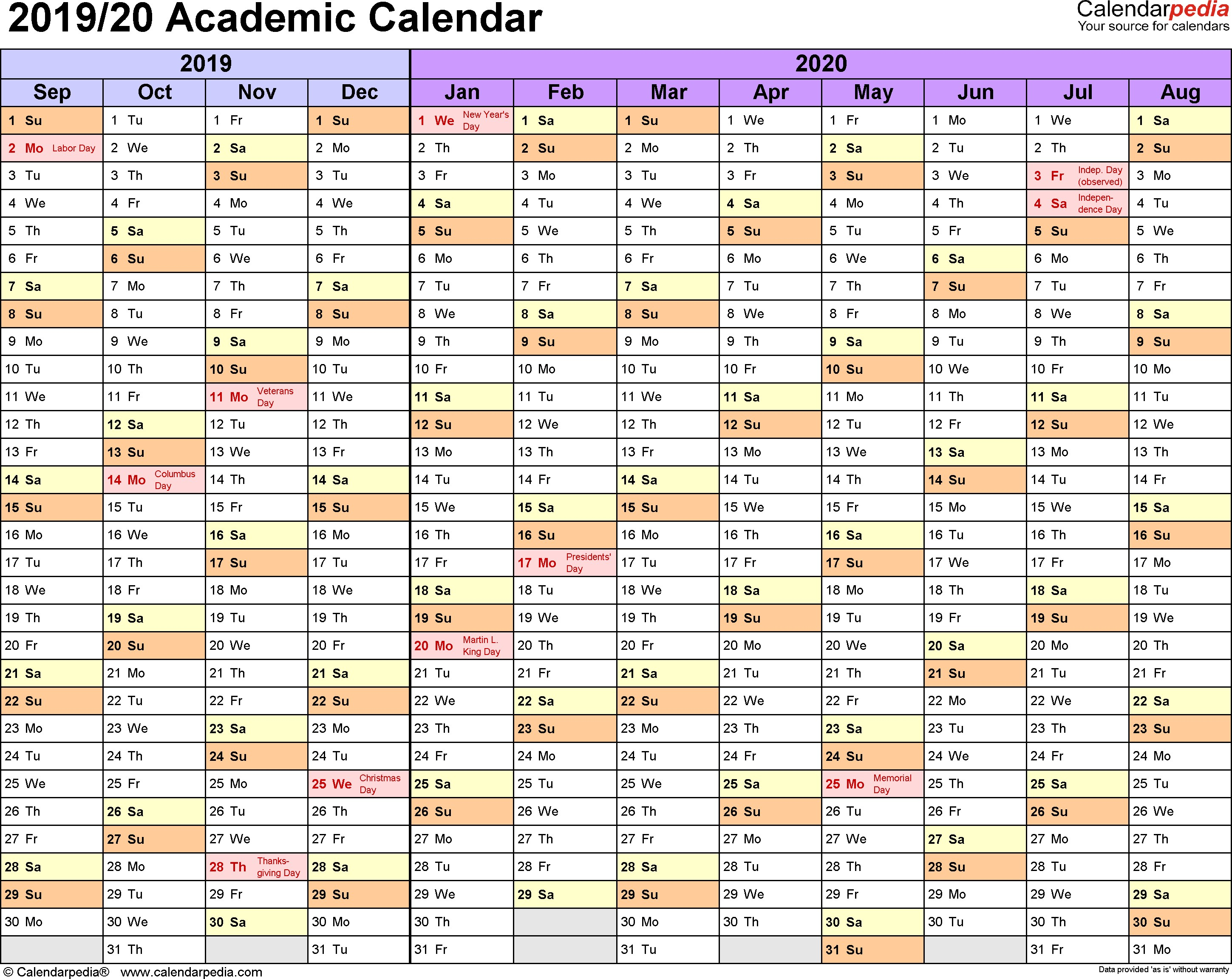 Printable Academic Calendar 2020 Academic Calendars 2019 2020 Free Printable Excel Templates