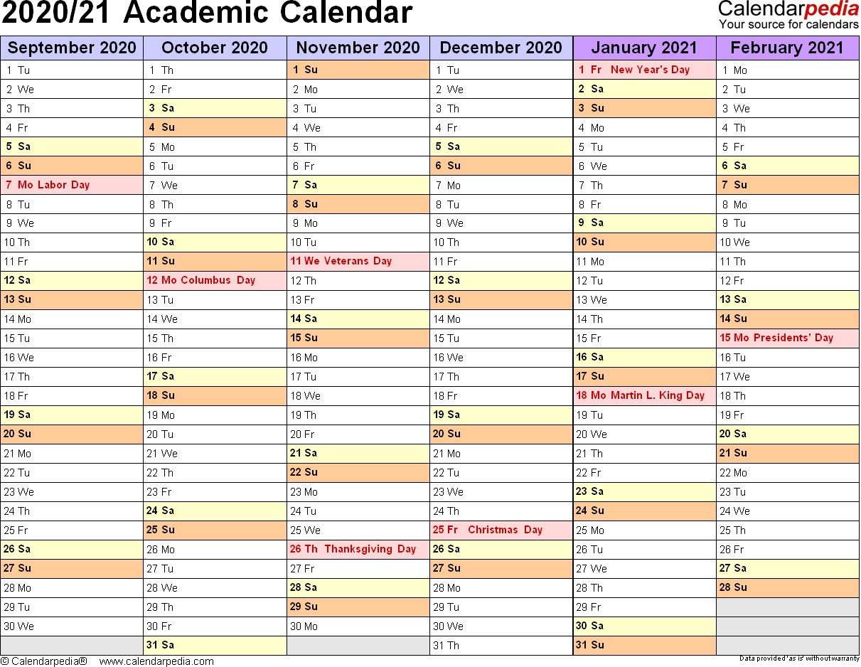 Academic Calendars 2020 2021 free printable Word templates