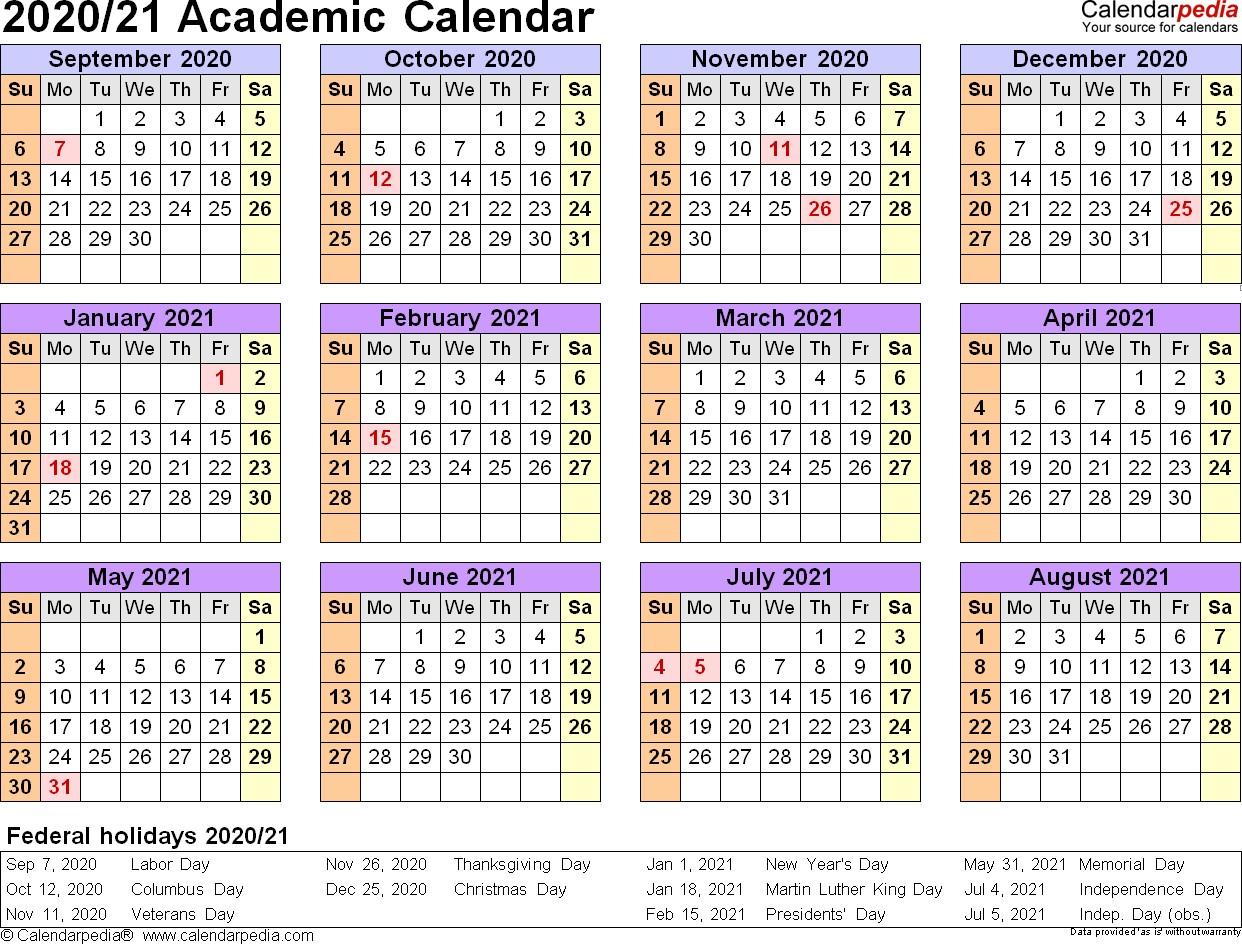 Printable Academic Calendar 2020