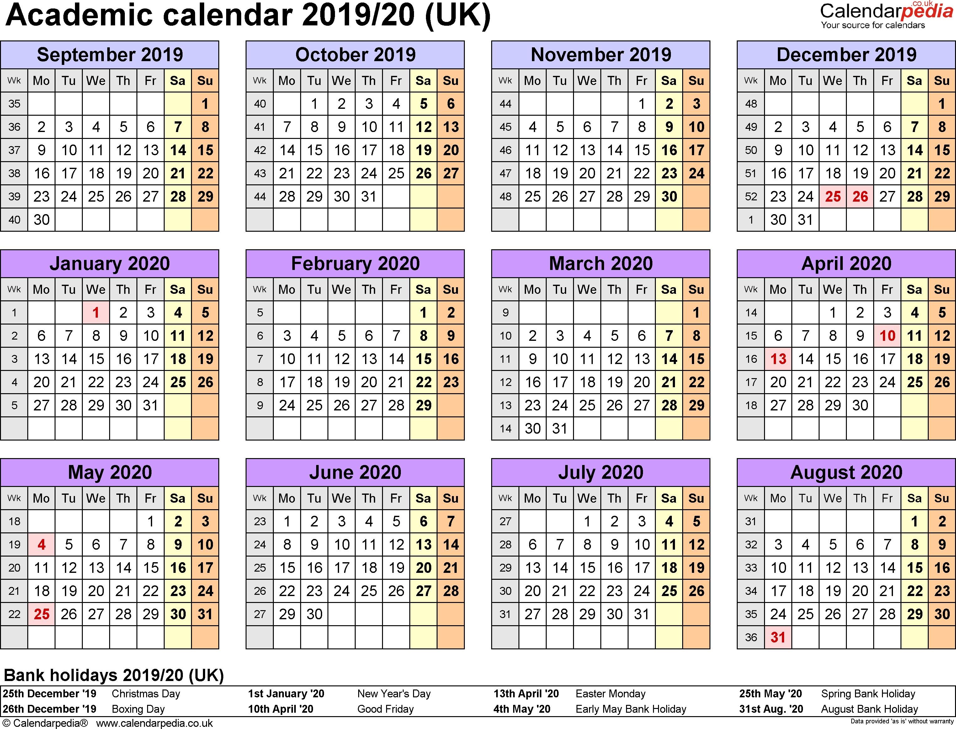 Printable Academic Calendar 2020 Printable Calendar 2019 School Year