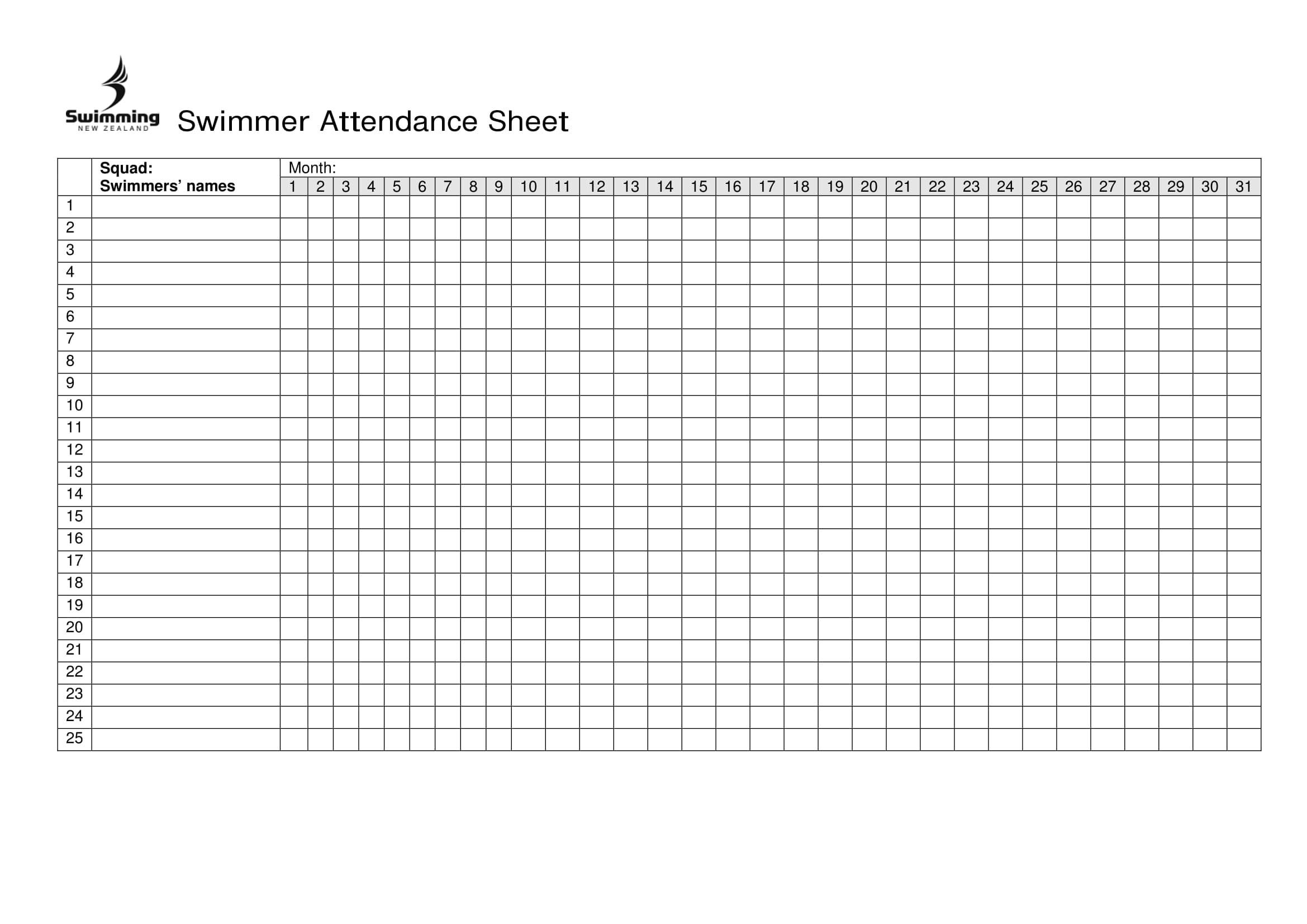 14 Printable Attendance Sheet Examples PDF Word