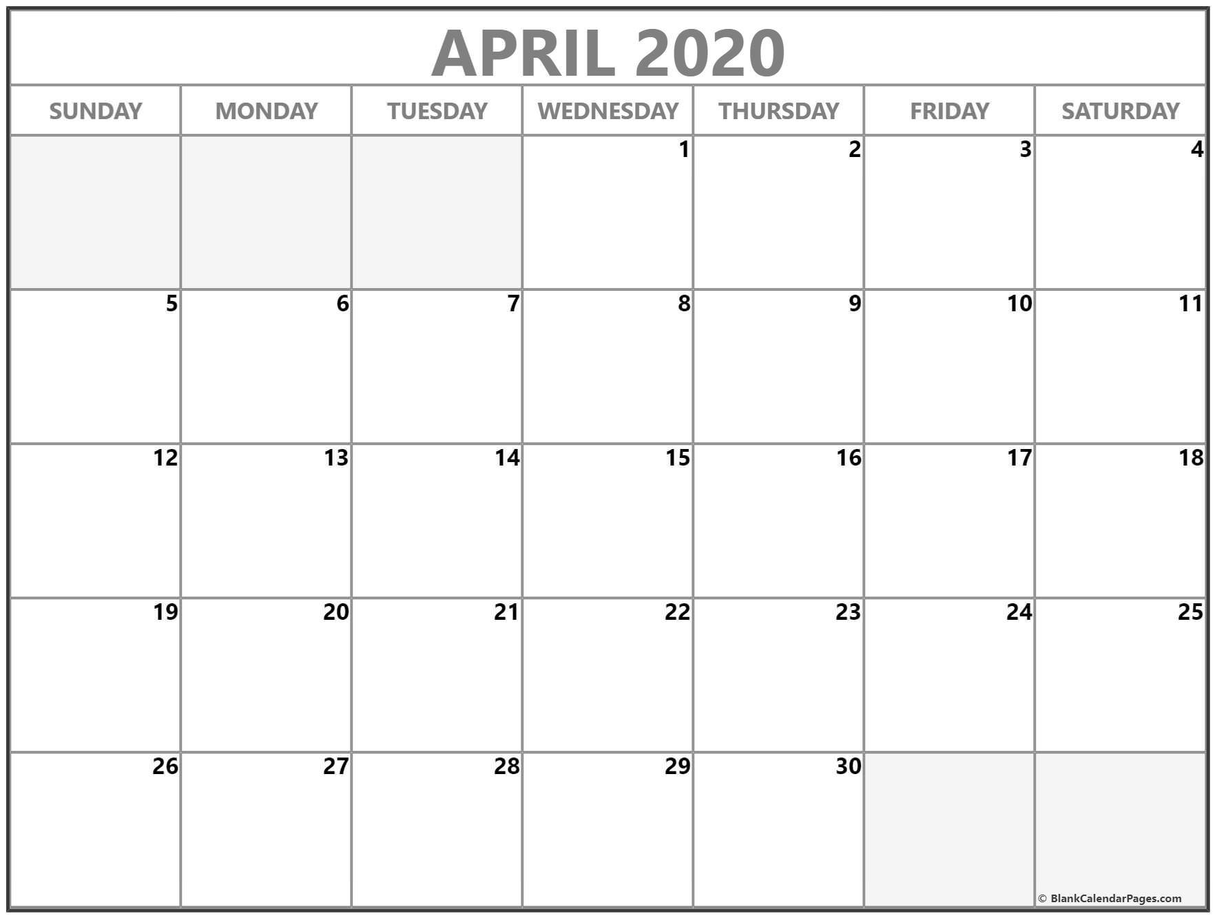 Printable Blank 2020 Calendar April 2020 Calendar