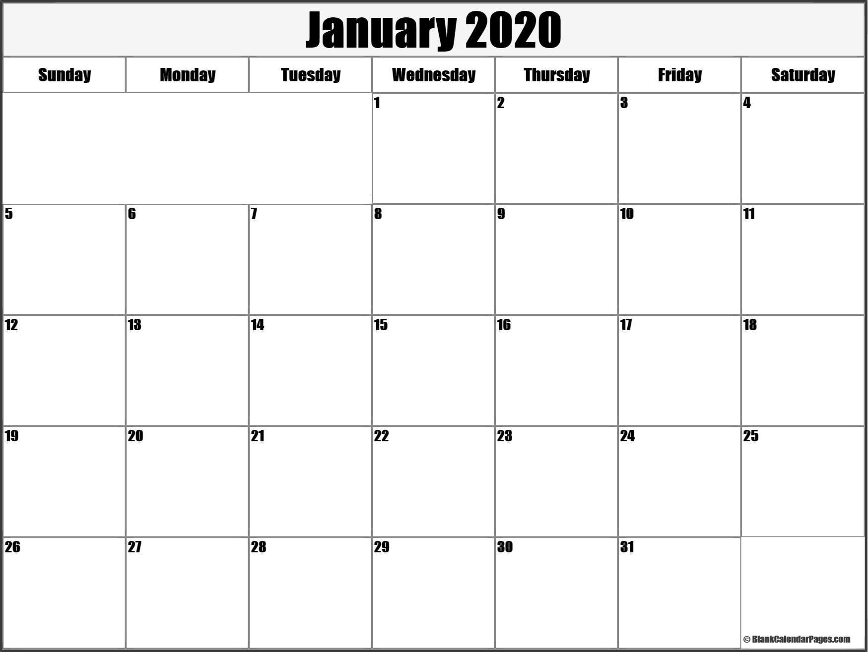 January 2020 blank calendar templates