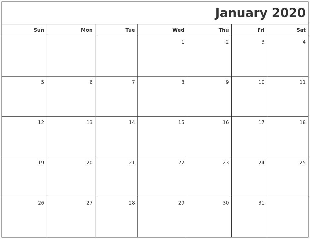 Printable Blank 2020 Calendar