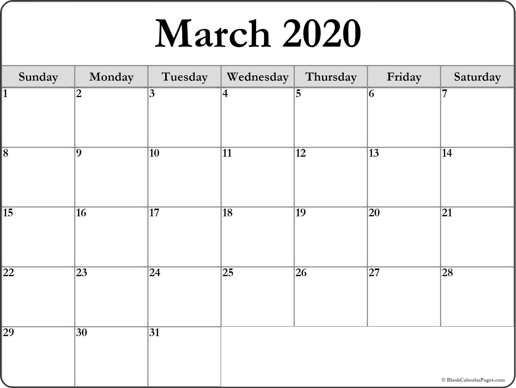 Printable Blank 2020 Calendar March 2020 Blank Calendar Templates