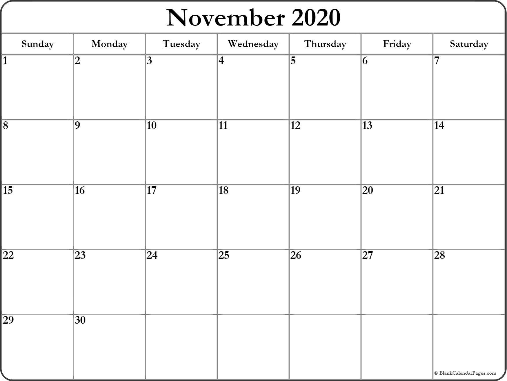 Printable Blank 2020 Calendar November 2020 Free Printable Blank Calendar Collection