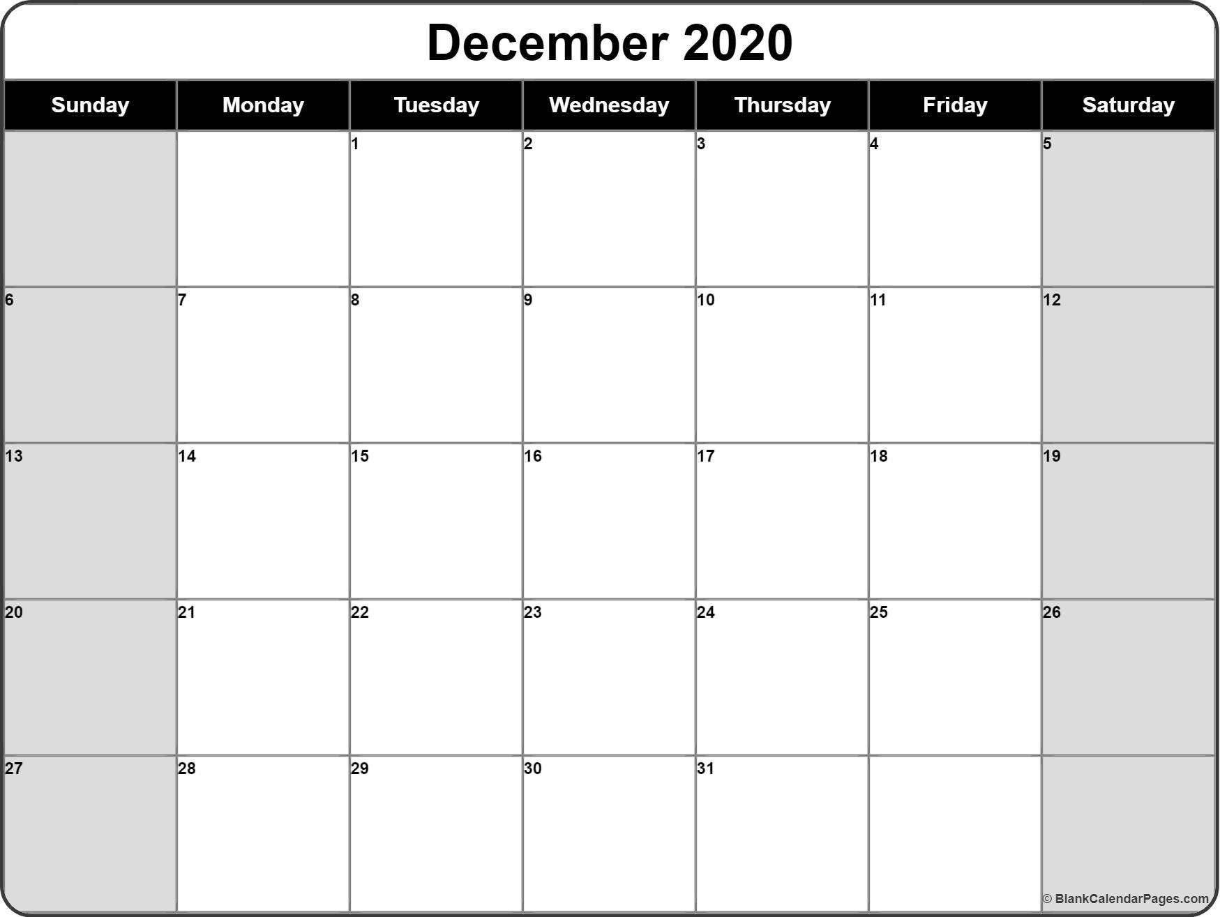 Printable Blank Calendars 2020 December 2020 Calendar