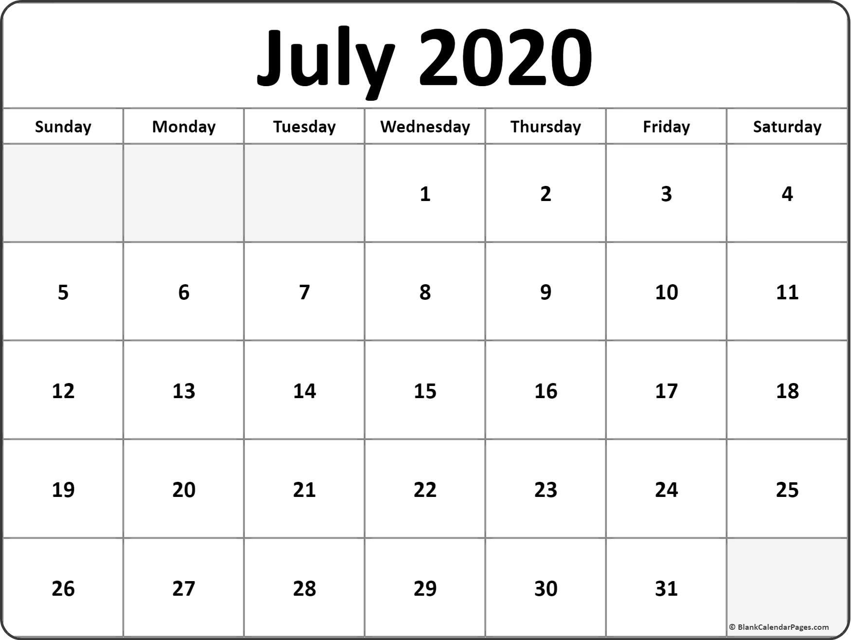 Printable Blank Calendars 2020 July 2020 Calendar