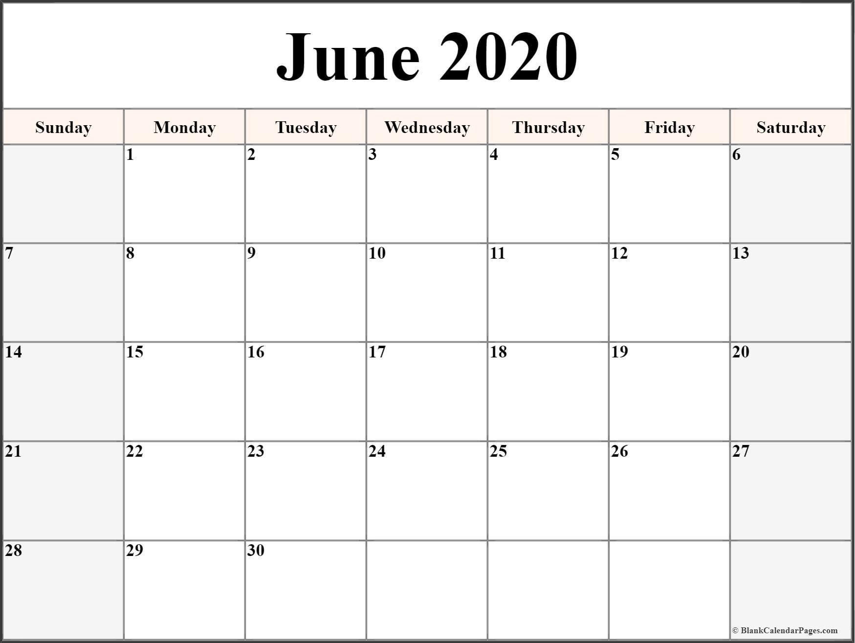Printable Blank Calendars 2020 June 2020 Calendar