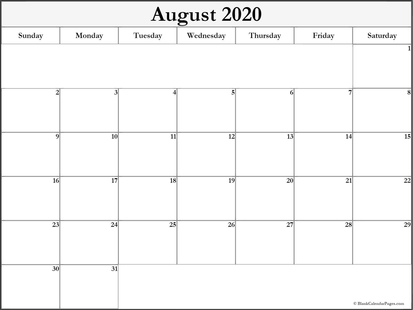 August 2020 blank calendar templates