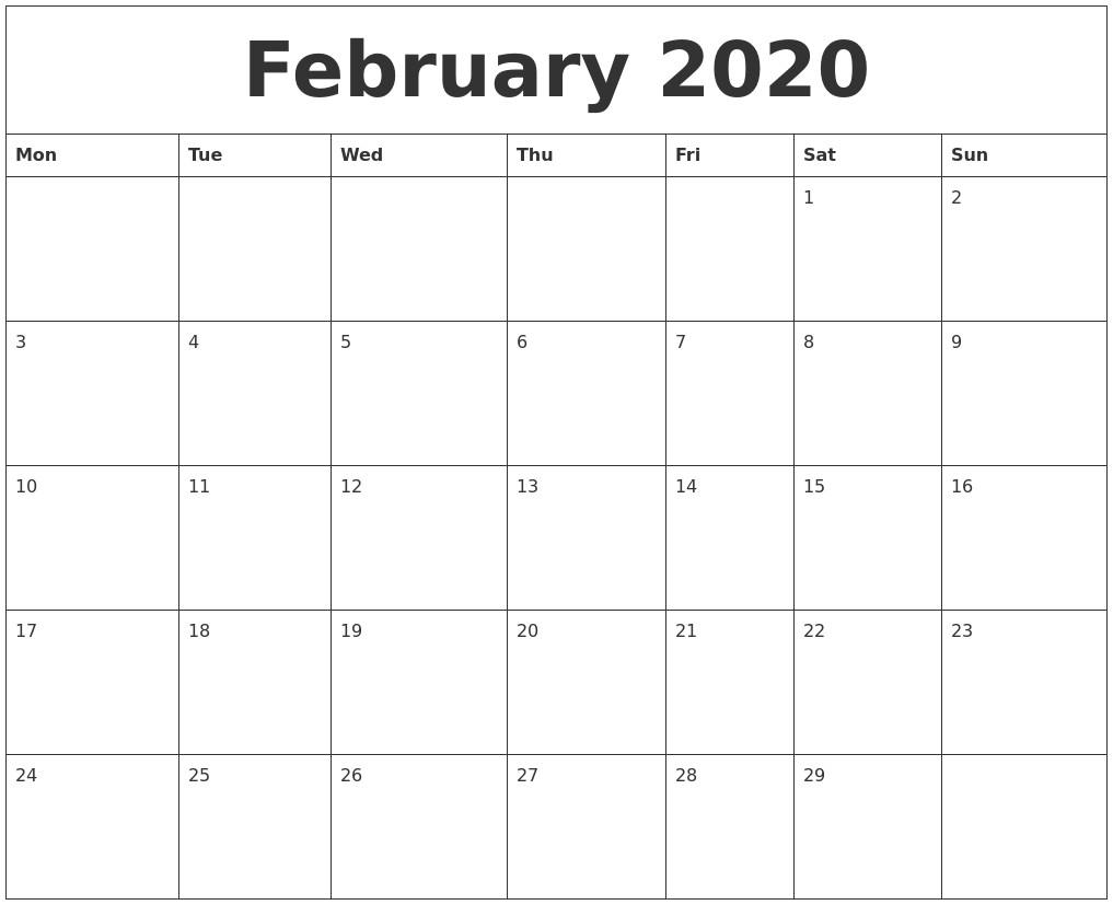 Printable Blank Monthly Calendar 2020 February 2020 Blank Monthly Calendar Template