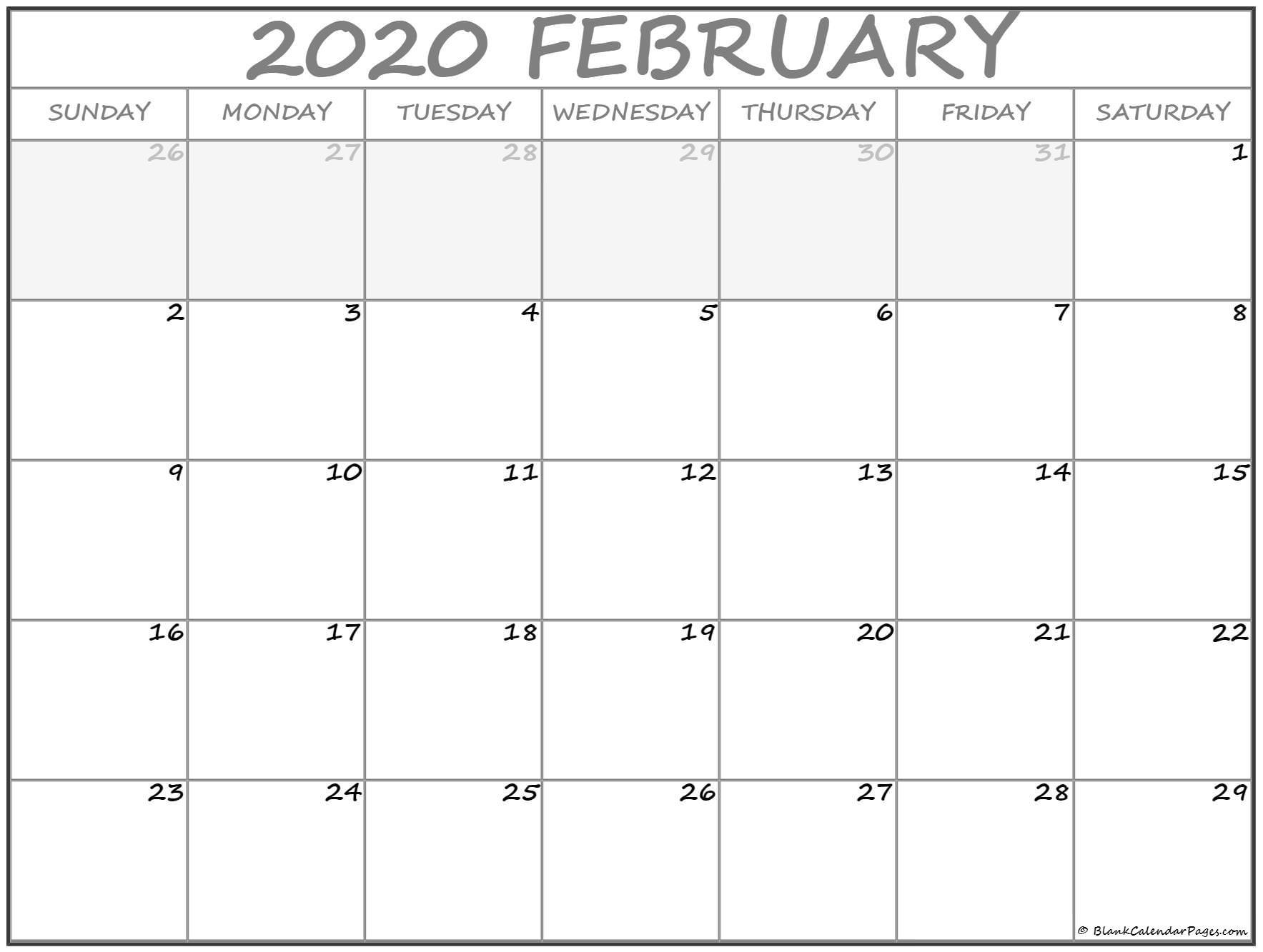 Printable Blank Monthly Calendar 2020 February 2020 Calendar