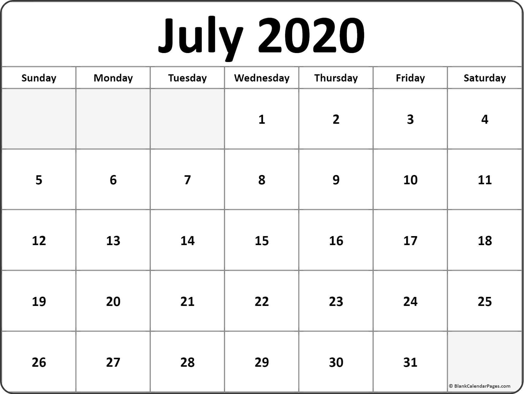 Printable Blank Monthly Calendar 2020 July 2020 Calendar