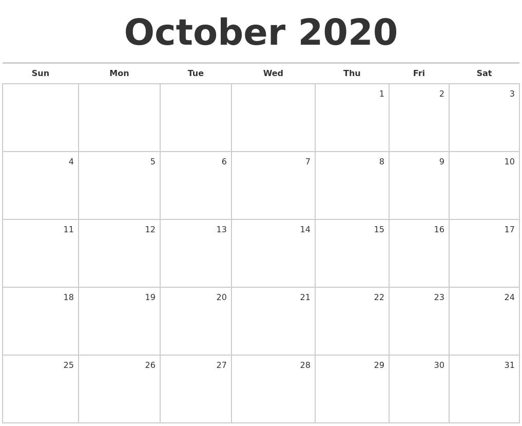 Printable Blank Monthly Calendar 2020 June 2020 Print Free Calendar