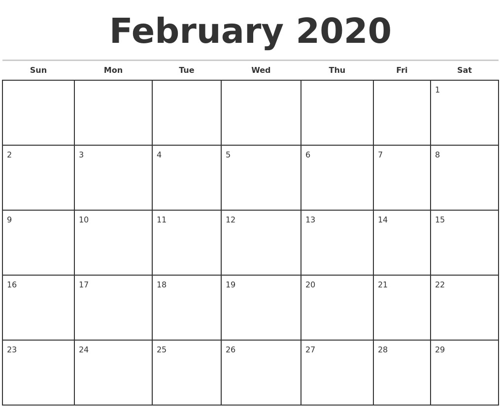 Printable Calendar 2020 by Month February 2020 Monthly Calendar Template
