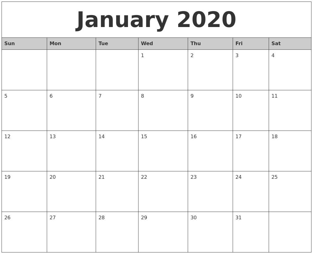 January 2020 Monthly Calendar Printable