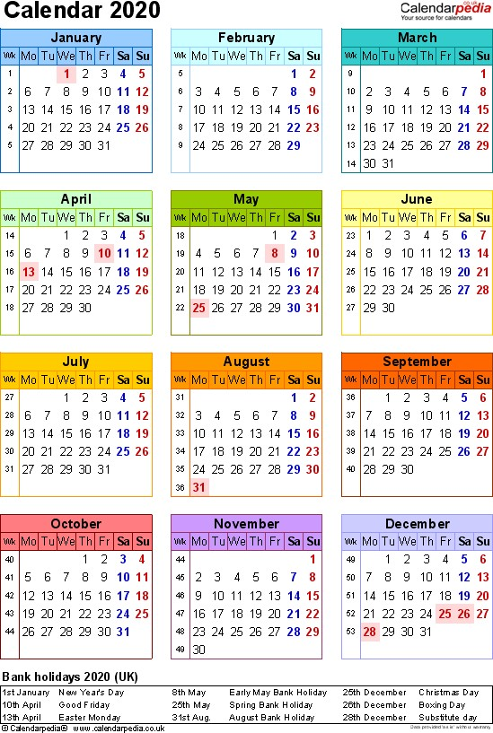 Calendar 2020 UK 17 free printable Word templates
