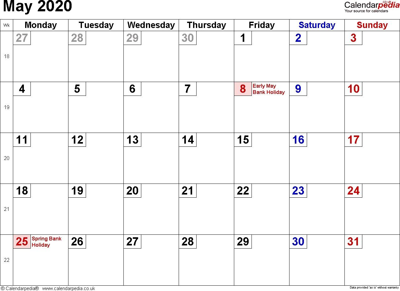 Calendar May 2020 UK Bank Holidays Excel PDF Word Templates
