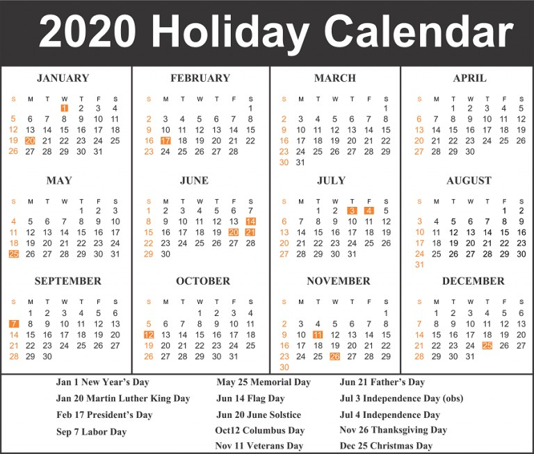 Printable Calendar 2020 with Holidays Free Blank Printable Calendar 2020 Template In Pdf Excel