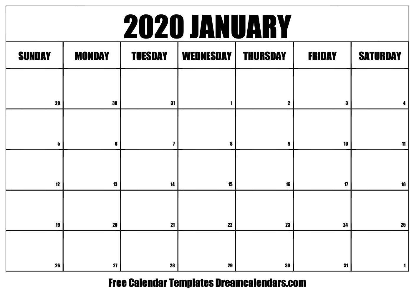 Printable Calendar Free 2020 Free Blank January 2020 Printable Calendar
