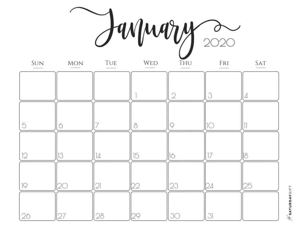 Elegant 2020 Calendar Free Printables