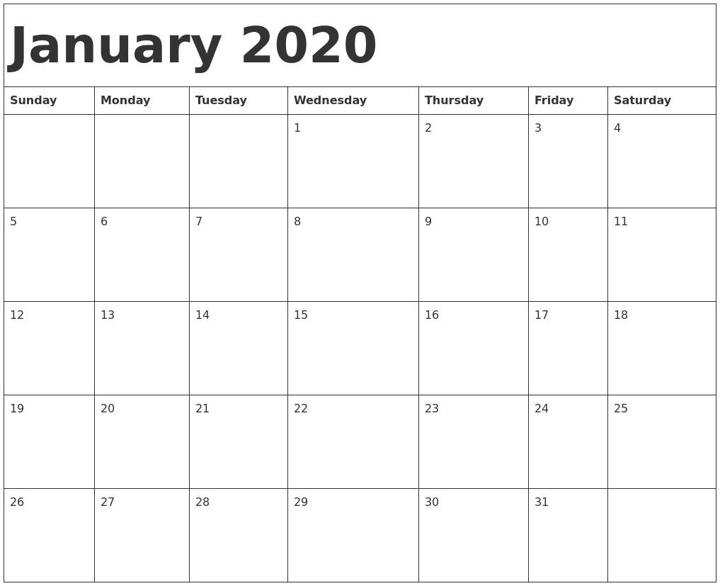 Printable Calendar January 2020 January 2020 Calendar Template