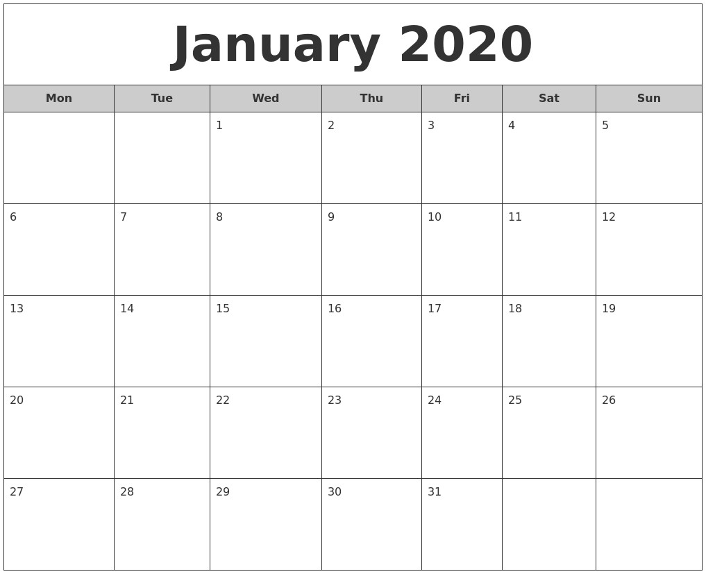 Printable Calendar January 2020 January 2020 Free Monthly Calendar