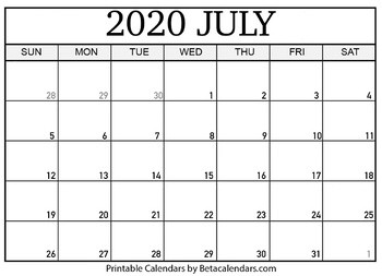 Blank July 2020 Calendar Printable by Mateo Pedersen