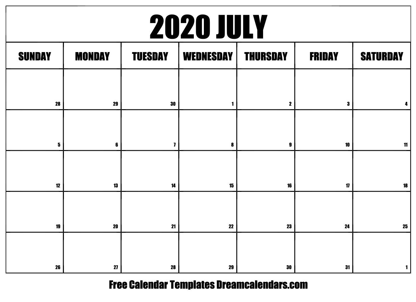 Printable Calendar July 2020 Free Blank July 2020 Printable Calendar