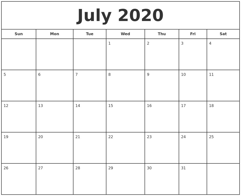 Printable Calendar July 2020 January 2021 Print A Calendar