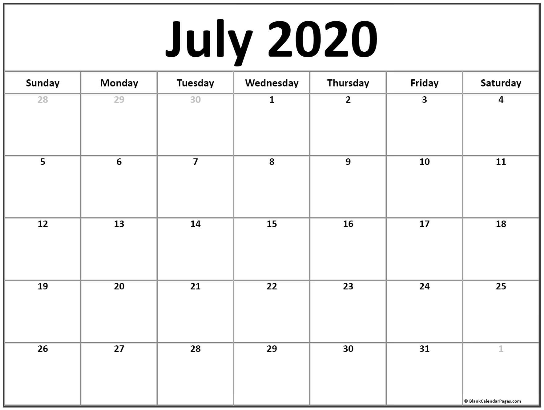 Printable Calendar July 2020 July 2020 Calendar