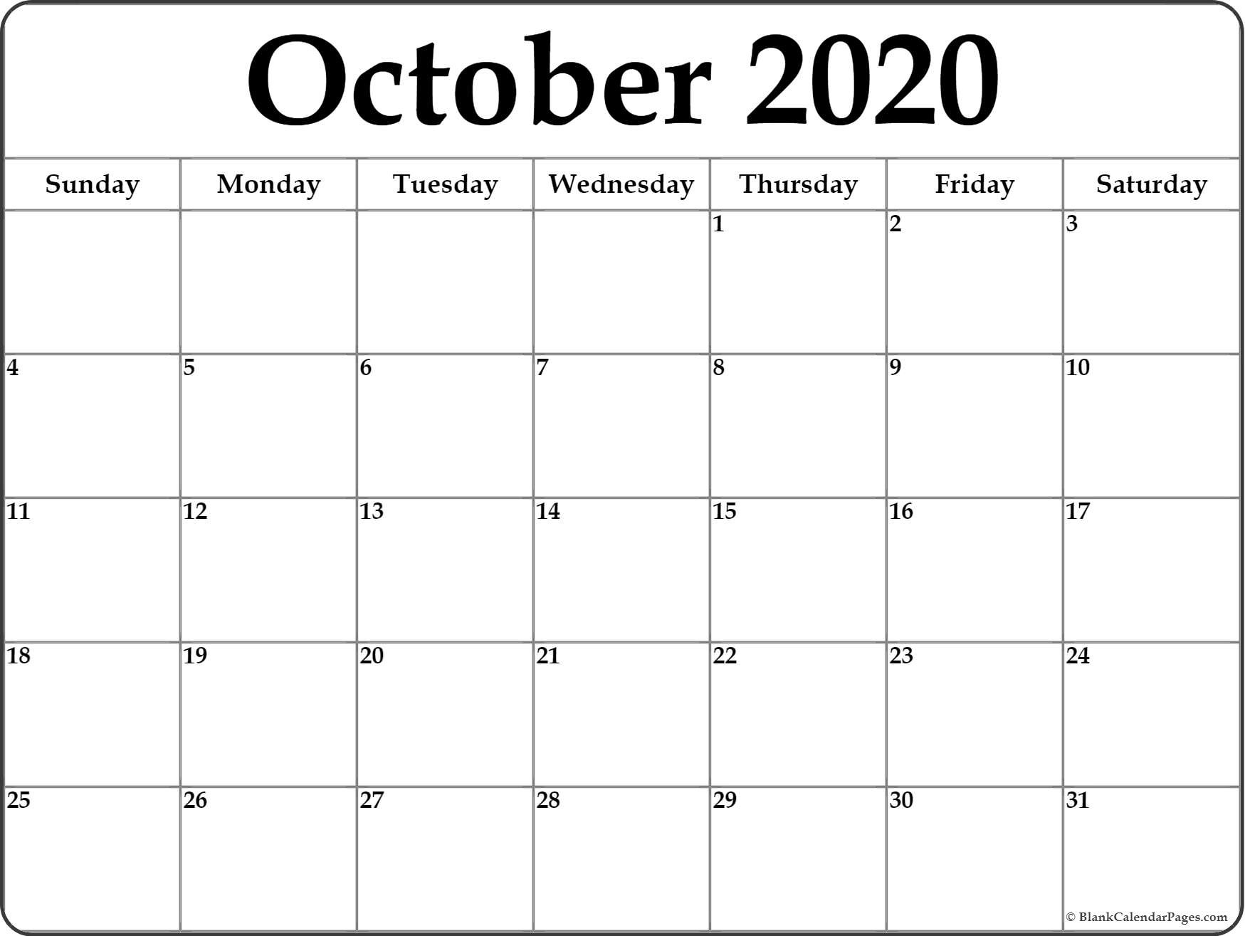 Printable Calendar Monthly 2020 October 2020 Blank Calendar Templates