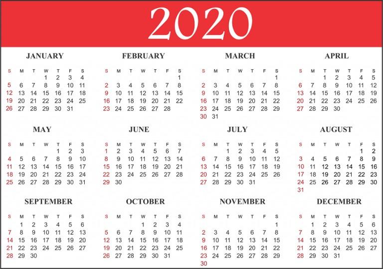 Free Blank Printable Calendar 2020 Template in PDF Excel