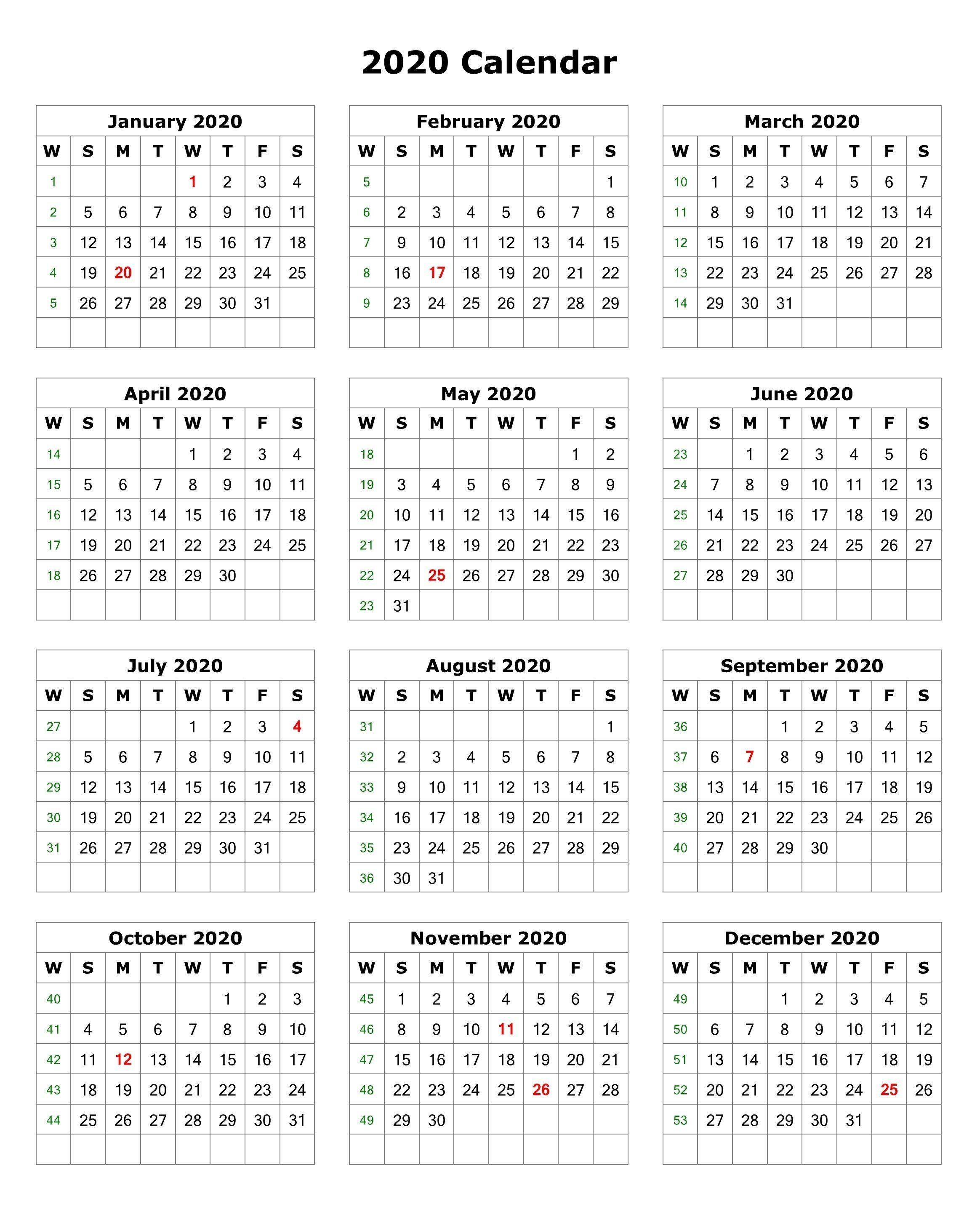 Printable Calendar with Holidays 2020 2020 E Page Portrait Calendar