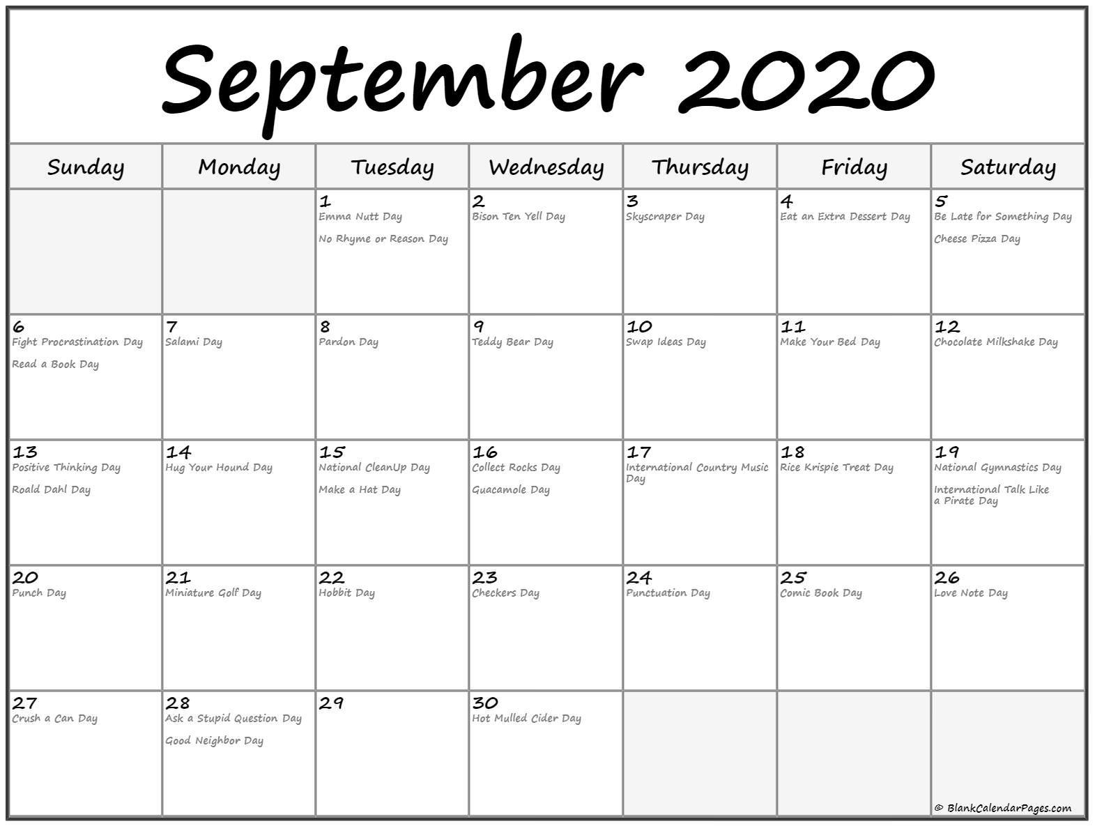 Printable Calendar with Holidays 2020